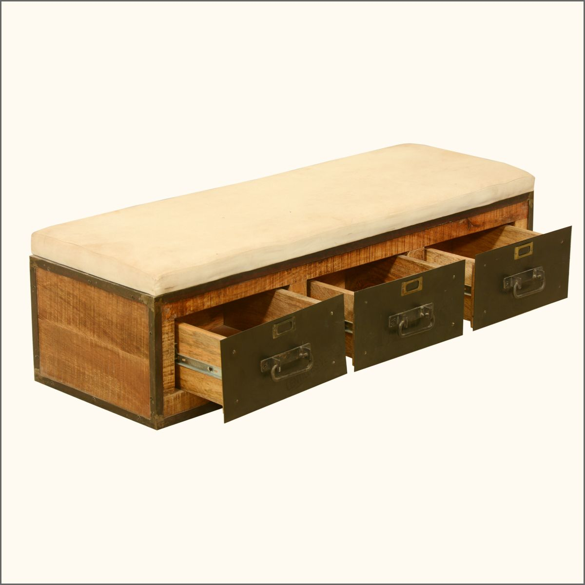 Rustic 20 X 47 Three Drawer Storage Bench With Cushioned Seat Multi Storage Bench Rustic Storage Bench Storage Drawers
