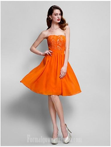f8be83867ab AUSTRALIA COCKTAIL PARTY DRESS ORANGE PLUS SIZES DRESSES PETITE A-LINE  STRAPLESS SHORT KNEE-LENGTH CHIFFON -  135.00