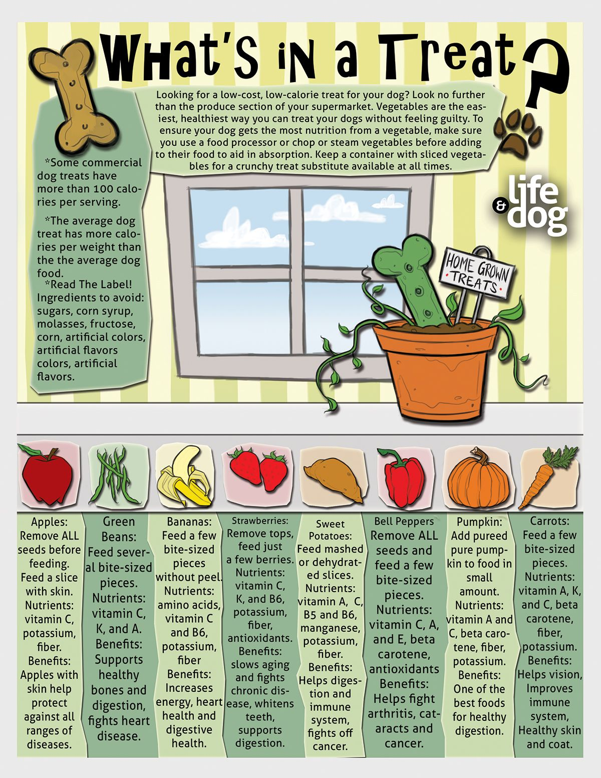 Printable infographic on fruit and veggie treats for your
