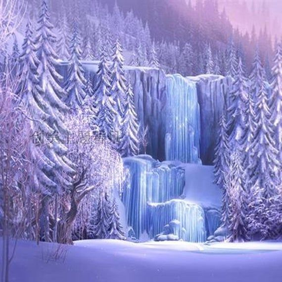 Fairy Tale Winter Snow Waterfall Photography Backdrop Background