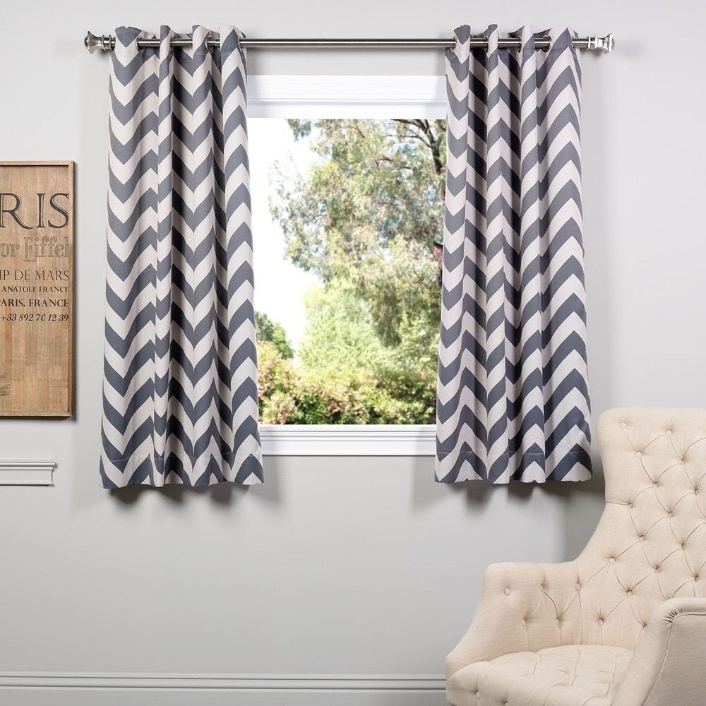 Exclusive Fabrics Fez Grey Tan Grommet 63 Inch Blackout Curtain