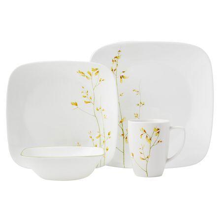 Corelle Square™ Kobe 16-pc Dinnerware Set - The delicate yellow ...