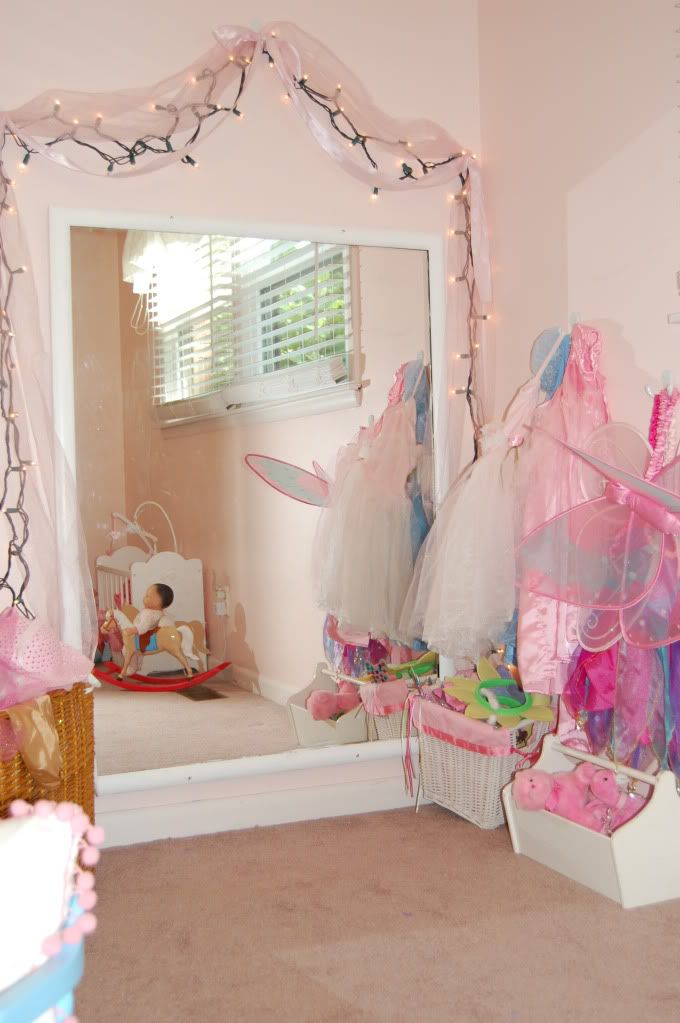 Love the idea of a huge mirror in the girls  room. Pretty dress up area  maybe the mirror i have that i said i would