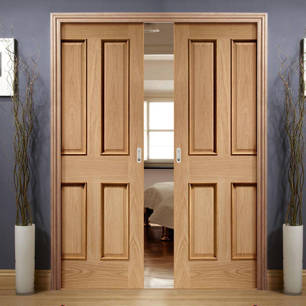 Double pocket victorian oak panel door raised mould victorian