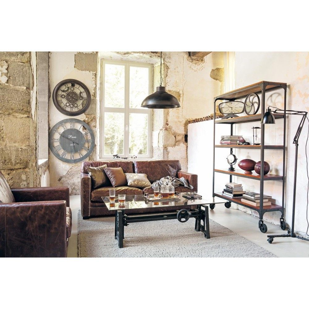 Canapé 3/4 places en cuir marron   Table basse industrielle, Table basse et Maison du monde