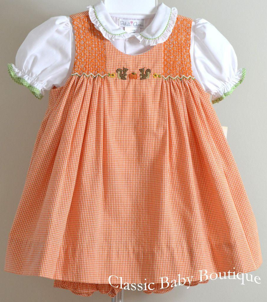 9eba0b88dac Petit Ami Girls Fall Orange Pumpkin and Squirrel Smocked 3 piece Dress –  Classic Baby Boutique
