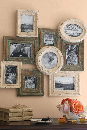"""Collage of overlapping frames. like the rustic finishes & mix of frame shapes. I saw a similar grouping of smaller framed at Hobby Lobby. I was hinking I would do one myself for my """"seaside office""""! (Dream On!)"""