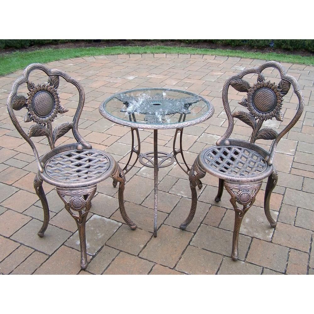 Oakland Living Sunflower 3 Piece Patio Bistro Set 5208 Ab The