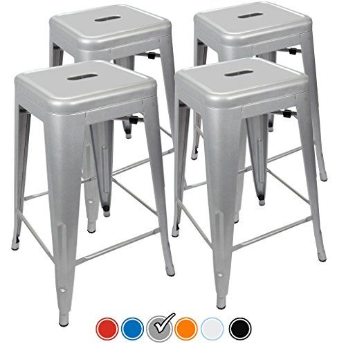 Urbanmod Counter Stools Silver Home Bar Height Bar Stools 24