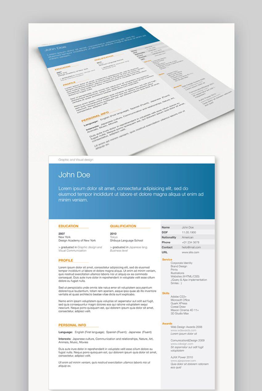 22 free minimalist resume templates word indesign