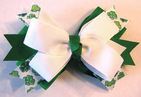 St Patrick's Day Spiky Stacked Bow by ButtercreamBows on Etsy, $7.00