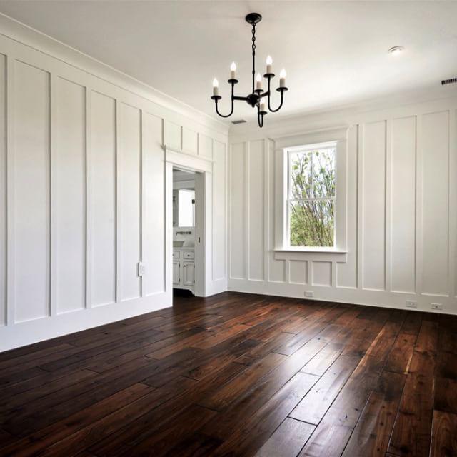 BEDROOM | Vertical Board Walls, Walnut Wide Plank Tung Oil Flooring, Unlacquered Brass Hardware, Iron Chandelier