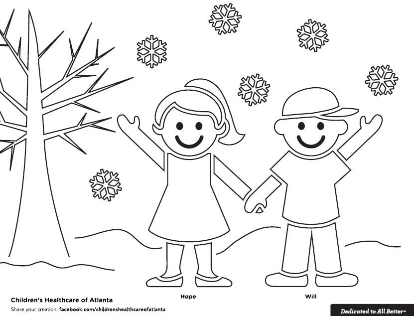 Get a copy of the Hope and Will Winter coloring sheet at www.choa ...