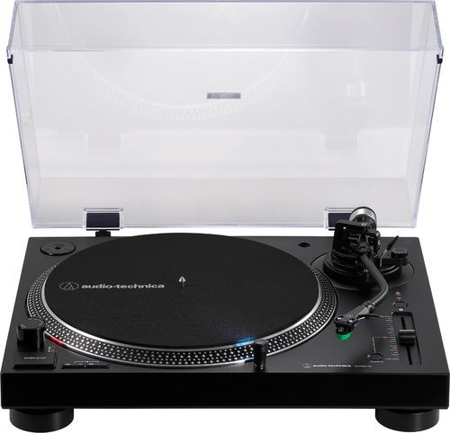 Play your favorite records with this Audio-Technica wireless turntable. Bluetooth technology lets you pair speakers or headphones for a wireless listening experience, while the RCA cable connects to your home stereo for high-quality sound. This Audio-Technica wireless turntable has a DC servo direct-drive motor and an adjustable anti-skate control to play 33 1/3, 45 and 78 rpm records smoothly.