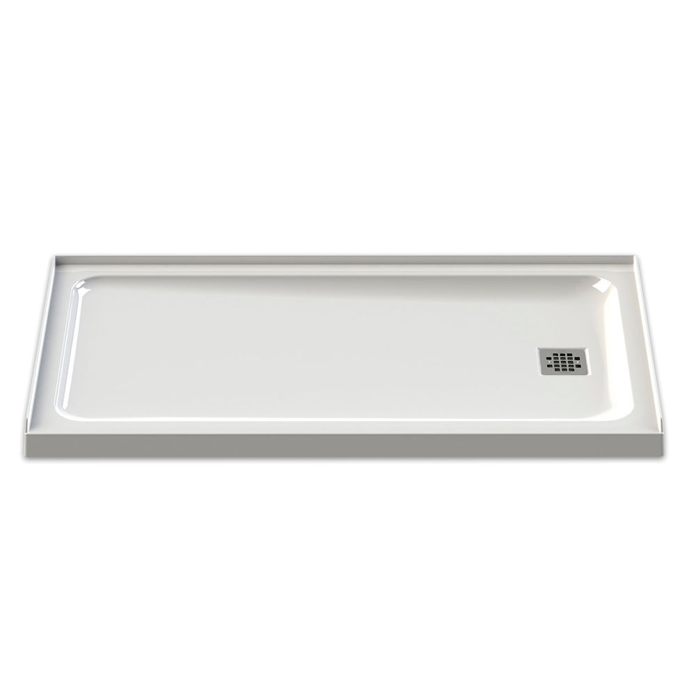 Olympia 60 Inch X 32 Inch Right Drain Shower Base In White
