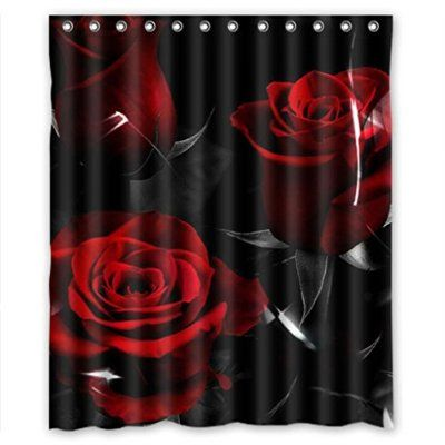 Glam Fire Red Rose And Black Leaves Best Home Fashion Custom