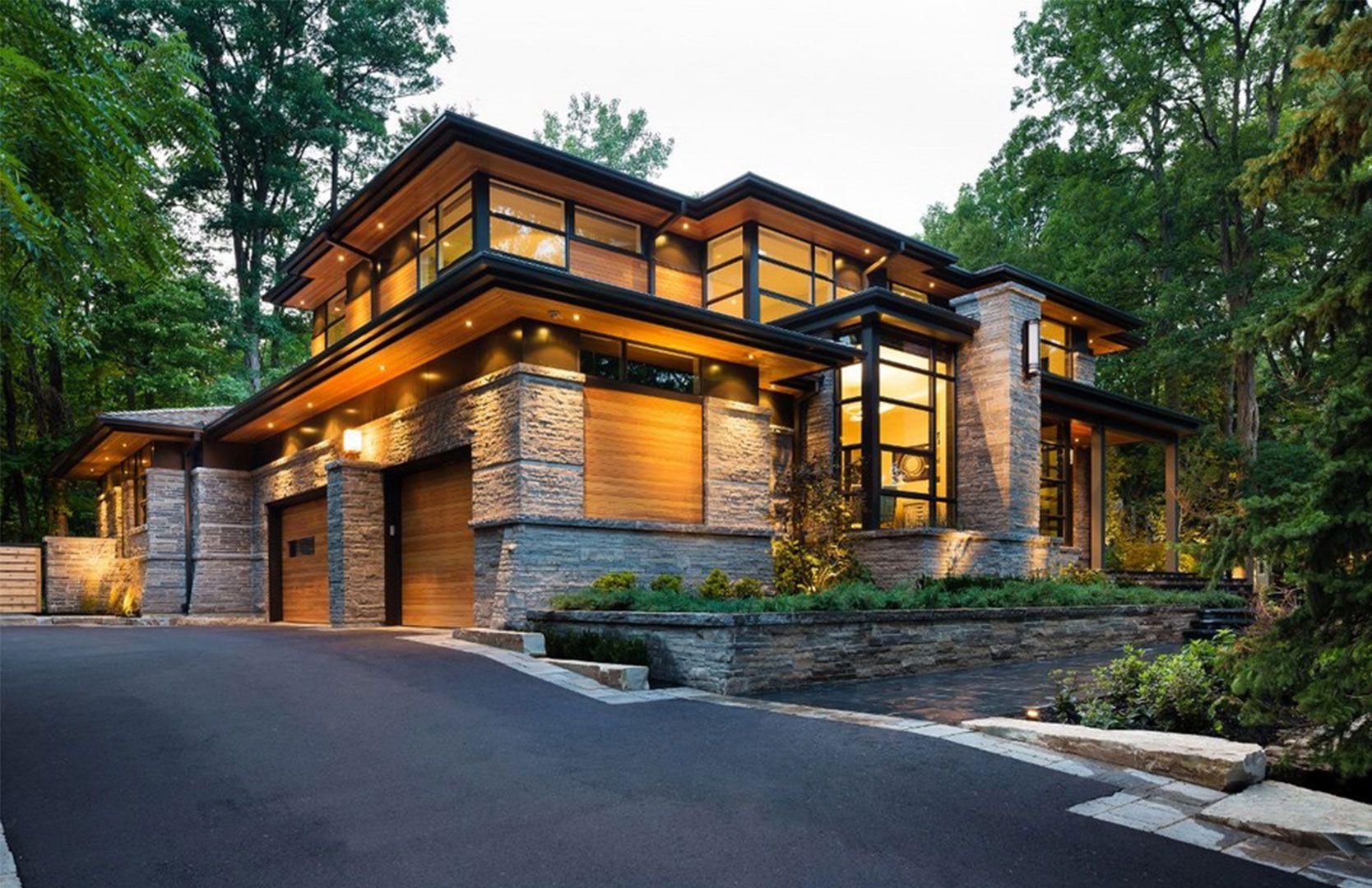 Glass Wood Stone Contemporary House Exterior Modern Exterior