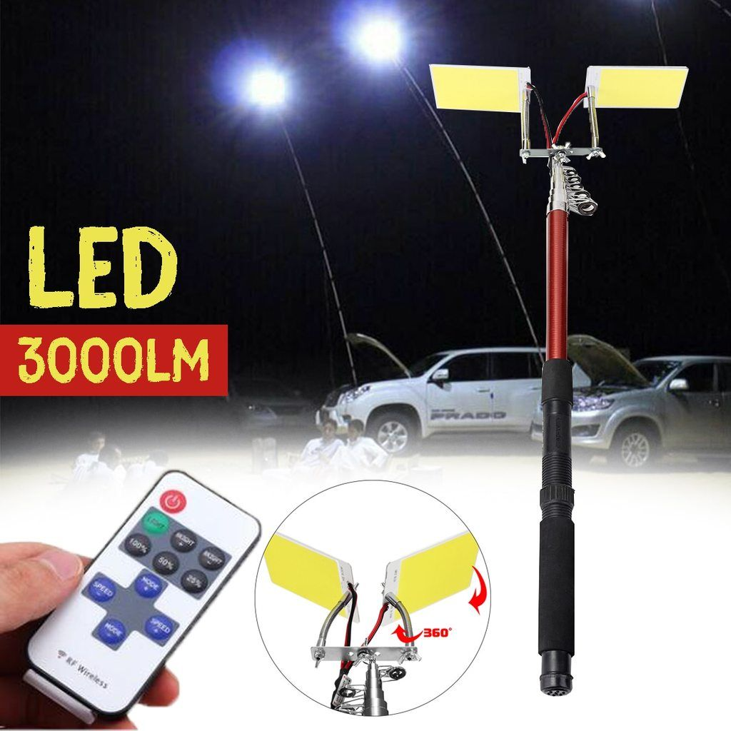 3 75m 12v Telescopic Led Fishing Rod Outdoor Lantern Remote Control Camping Lamp Light For Road Trip Self Driv Camping Lamp Led Lantern Lights Portable Lantern