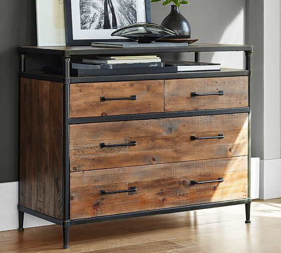 Juno Reclaimed Wood 4 Drawer Dresser Reclaimed Wood Dresser