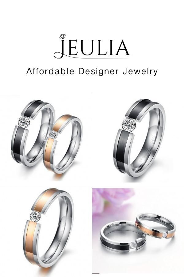 00cd89d9cd #Jeulia JEULIA Titanium Steel Promise Ring for Couples Round Cut Created.  Discover more stunning Couple Rings from Jeulia.com. Shop Now!