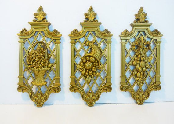 Set 3 Vintage Gold Ornate Dart Wall Hangings Dated 1971 Mid ...