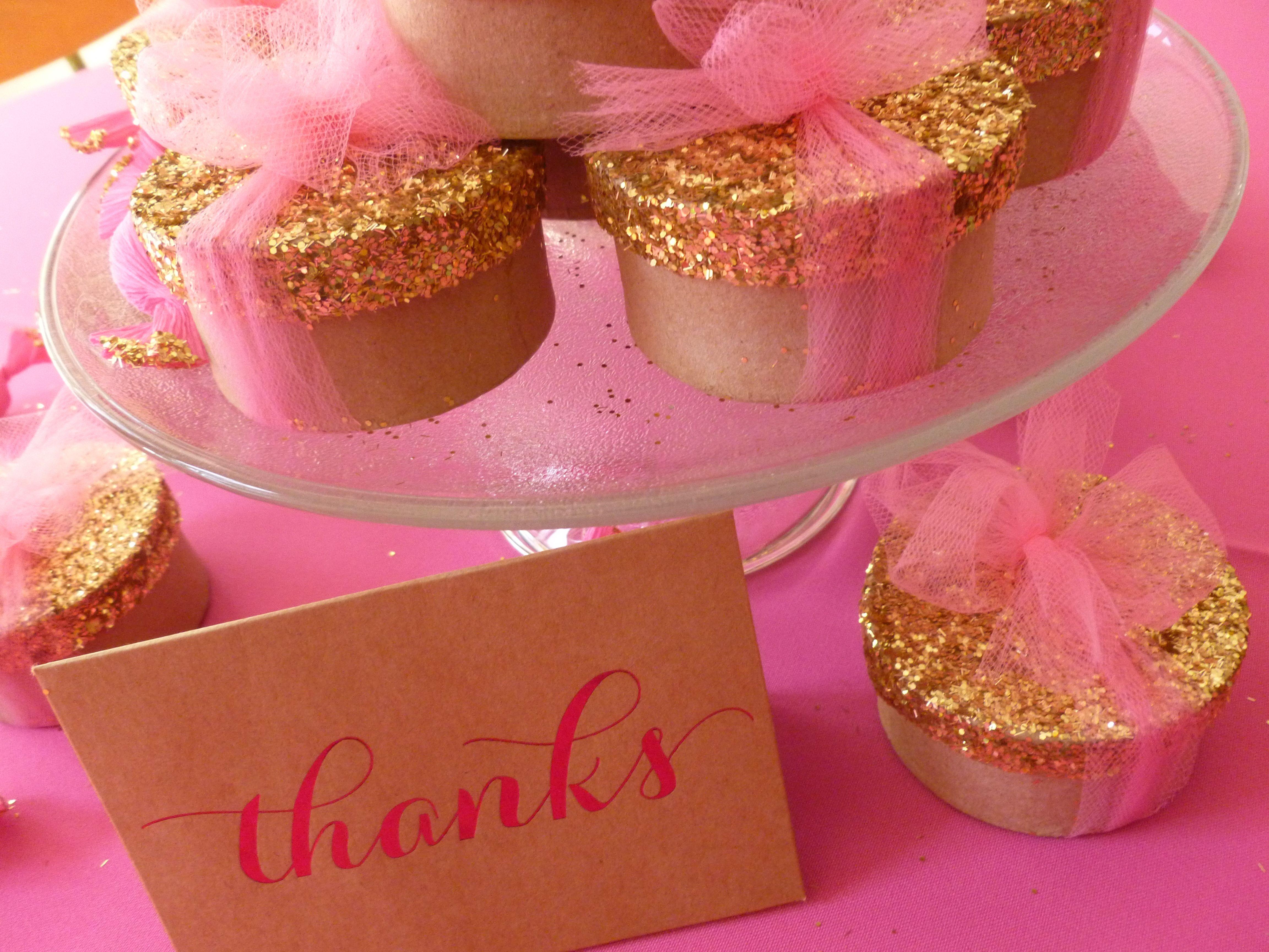 Sweet, Pink & Sparkly Bridal Shower Thank You Favors | Pink Lemonade ...