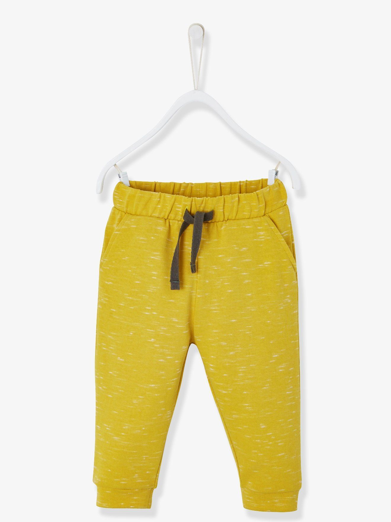36fdc0fd5de4a Pantalon bébé garçon en molleton effet rayé jaune chiné - Super  confortable
