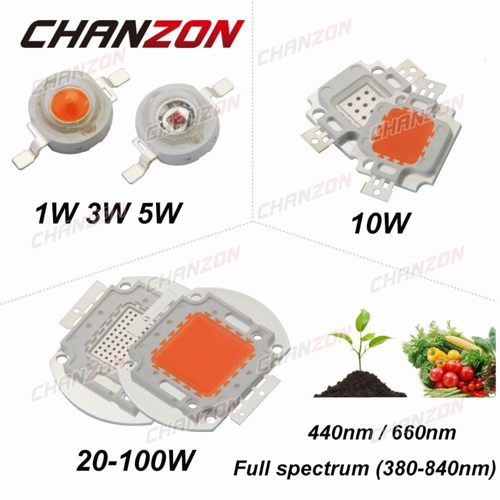 높은 전원 LED 칩 전체 스펙트럼 성장 로얄 블루㎚깊은 레드 660의 1 와트 3 와트 5 와트 10 와트 20 와트 30 와트 50 와트 100 와트 통합 diy 대한 공장