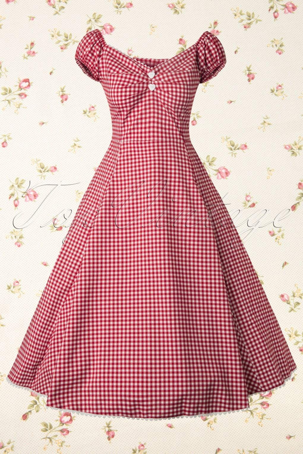 50s Dolores Sweetheart Gingham Swing Dress Red and White ...