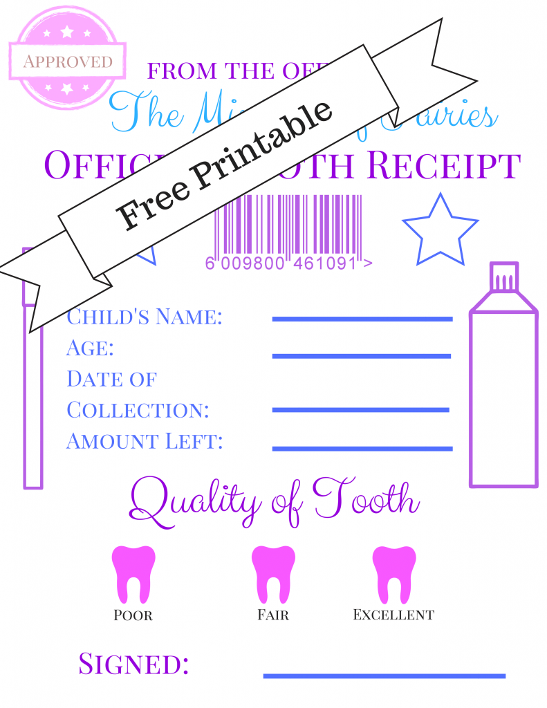 Tooth Fairy Receipt And Letter Printables Crafty Little Gnome Tooth Fairy Certificate Tooth Fairy Receipt Tooth Fairy Receipt Free Printable