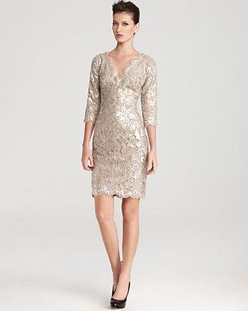 Tadashi Shoji Lace Dress V Neck Sequin Bloomingdales Boda