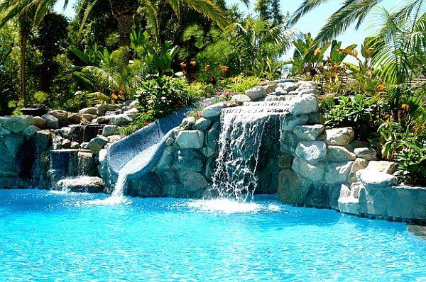 Breathtaking Pool Waterfall Design Ideas Pool Waterfall Backyard Pool Landscaping Pool Landscaping