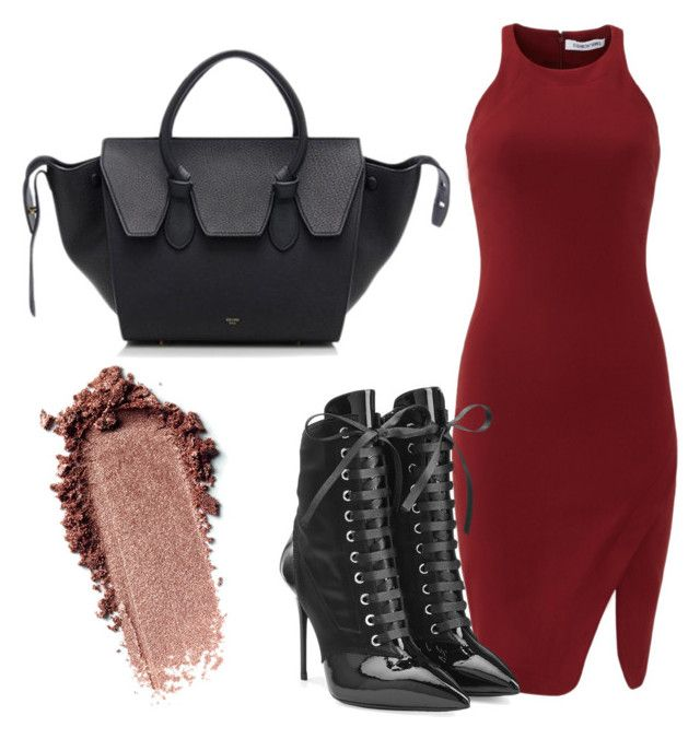 """Untitled #30"" by laurenmq ❤ liked on Polyvore featuring Elizabeth and James, Giuseppe Zanotti, CÉLINE, red, celine and redandblack"