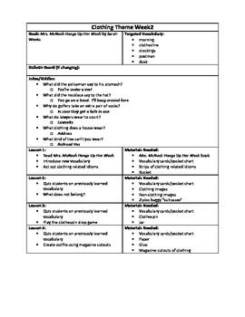 Clothing Themed Lesson Plan Materials Included Teachers Pay Teachers Lesson Plans