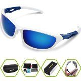 561f233659 Torege Polarized Sports Sunglasses For Cycling Running Fishing Golf TR90  Unbreakable Frame TR010 - http