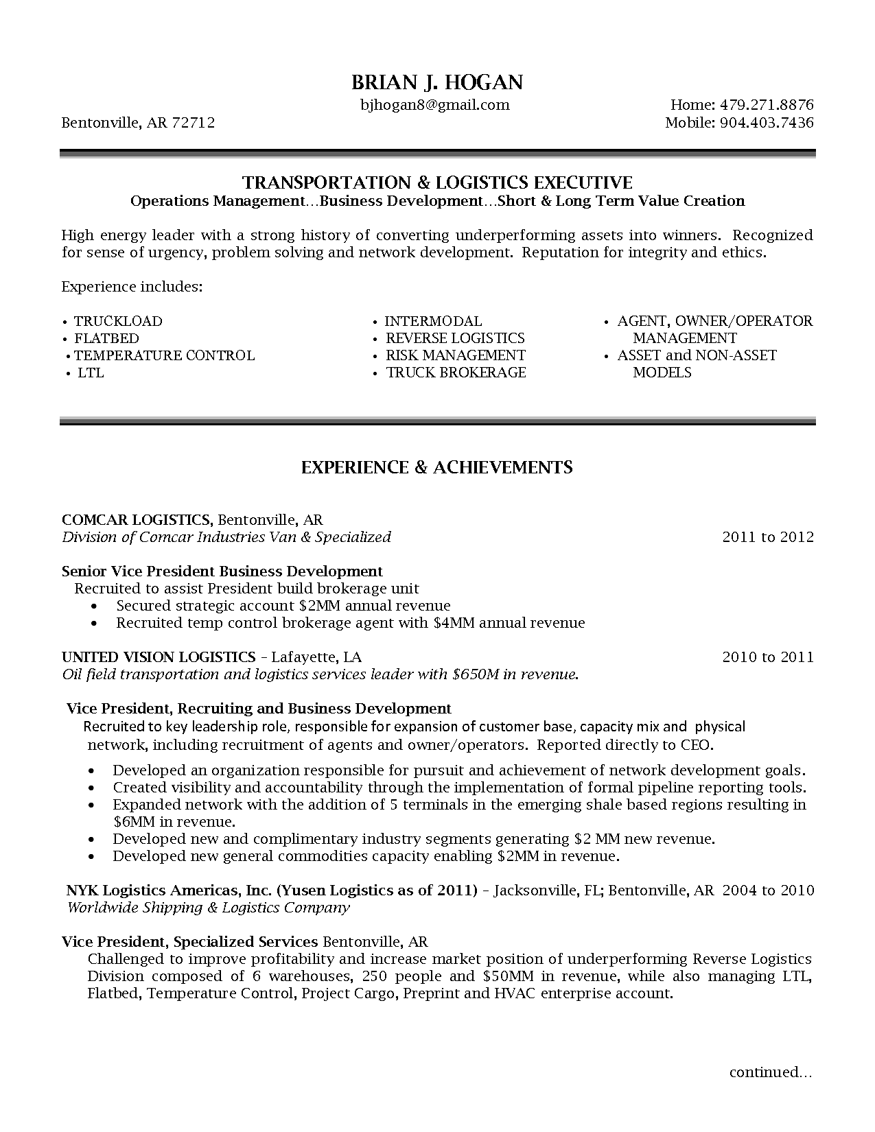 Senior Logistic Management Resume Vp Director Operations