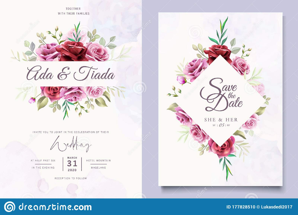 Beautiful Floral And Leaves Wedding Invitation Template Stock Vector Illustration O Wedding Invitation Card Design Wedding Cards Wedding Invitation Templates