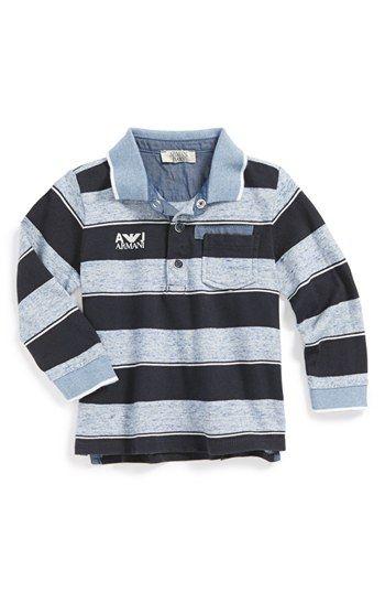 59ca51fb Armani Junior Stripe Long Sleeve Polo Shirt (Baby Boys) | Nordstrom ...
