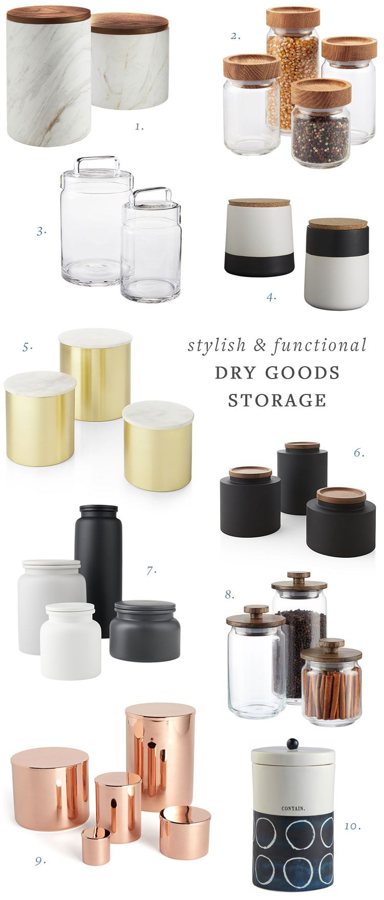 my search for stylish (and functional) dry goods storage containers ...