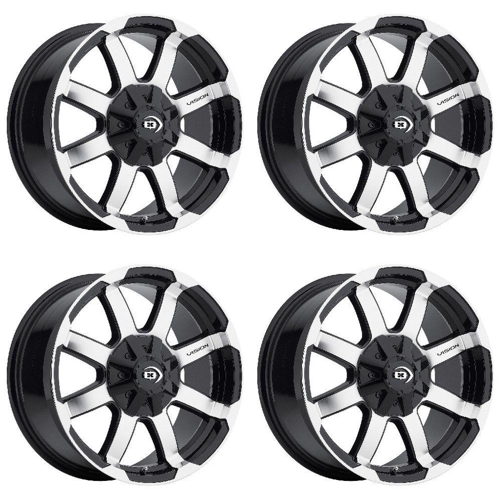 Set 4 16 Vision 413 Valor Black Machined Wheels 16x8 6x5 5 0mm Chevy Gmc 6 Lug Visionoffroad Wheel Rims Wheel Gmc