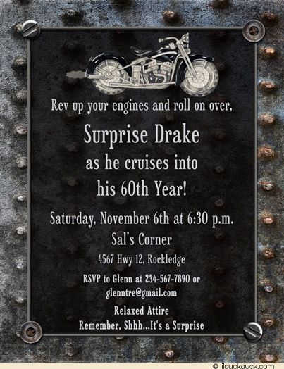 Motorcycle Garage Birthday Invitation