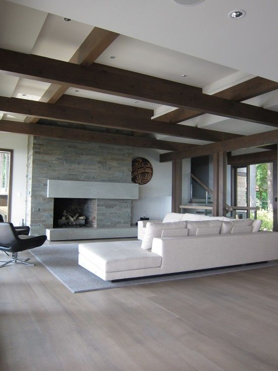 Living Room Floor Designs Captivating Love The Floors And Beamsgray Stained Wood  Http Design Ideas