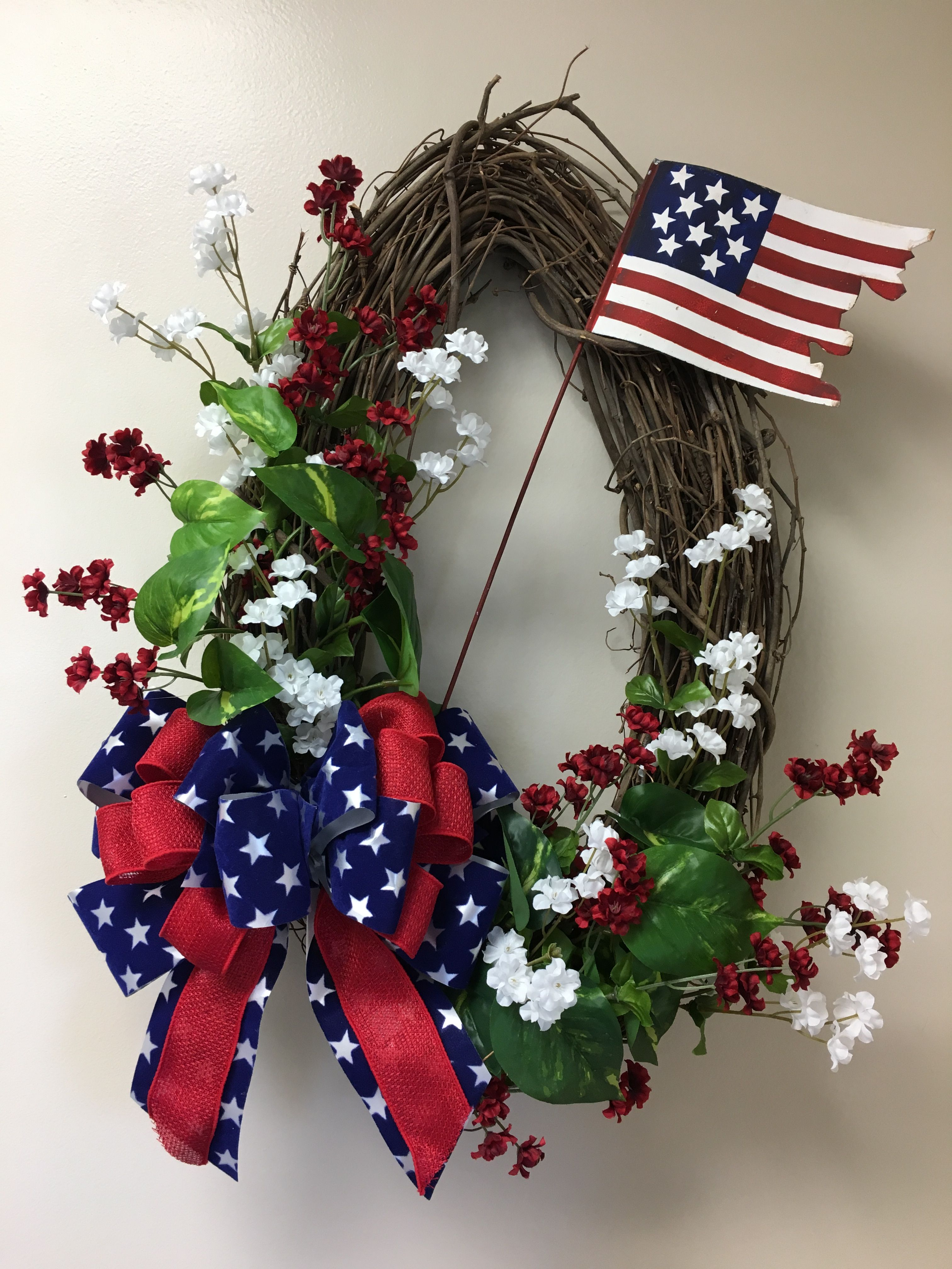 Patriotic wreath memorial day fourth of july front door wreath patriotic oval grapevine wreath with red and white flowers handmade red burlapblue star mightylinksfo