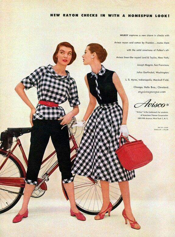 1955 Check Dress 1950s Mode 50er Style Damen Mode
