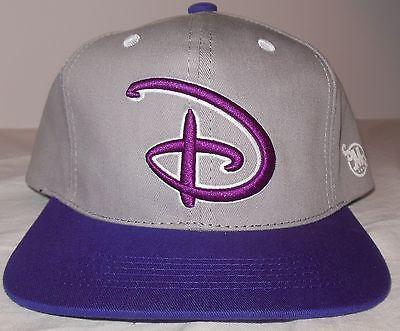 Disney Logo Flat Bill Snapback Trucker Hat Mickey Mouse Purple Gray SMG
