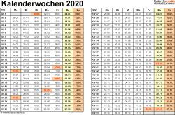 Vorlage 3: Kalenderwochen 2020 im Querformat als Excel ...
