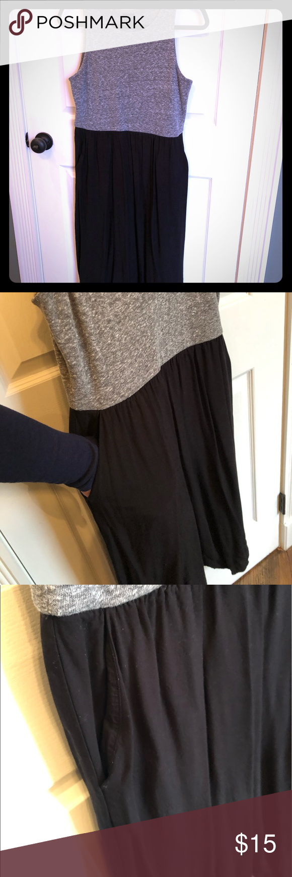 Paraphrase Maxi Dres Grey Black Stretch Pocket M Knit Top Rayon Bottom With Pock Dress
