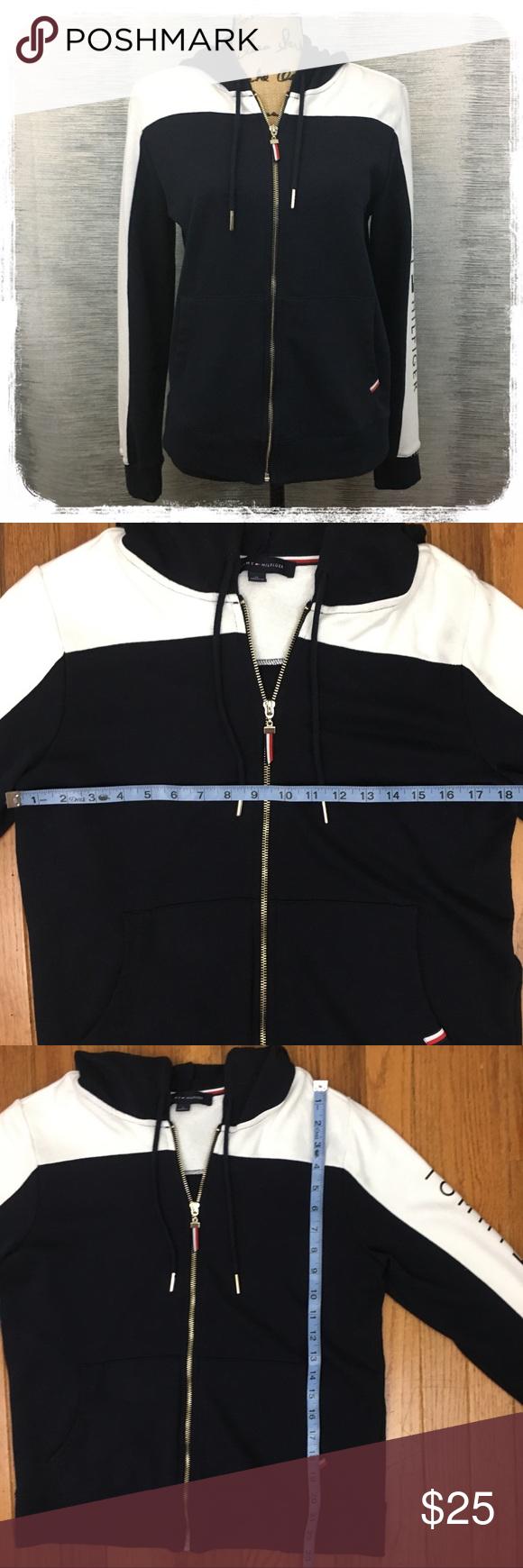Tommy Hilfiger Navy Blue/White Hoodie Sweatshirt M White