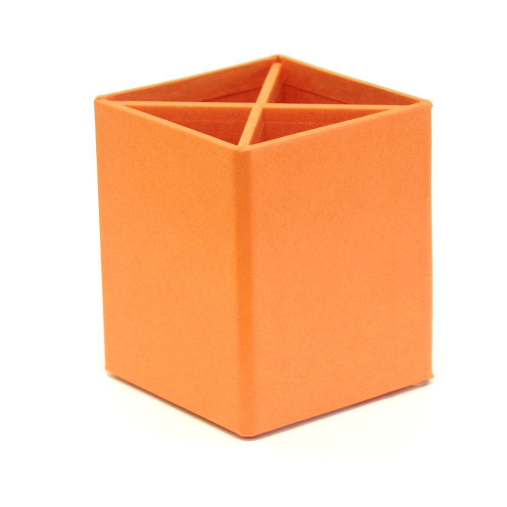 "basics pencil cup with divider - orange 4.99/sale 2.59  size: 3 7/8"" tall x 3 3/8"" square"