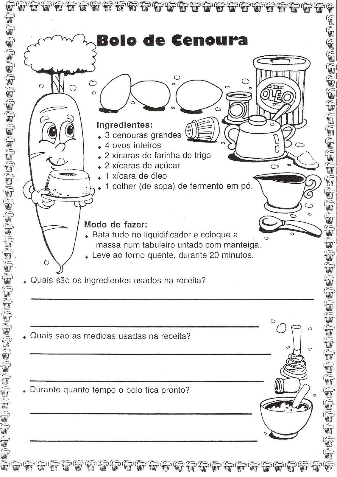 Conhecido Pedablogando: TRABALHANDO RECEITAS | ATIVIDADES (PORTUGUÊS E  RC52